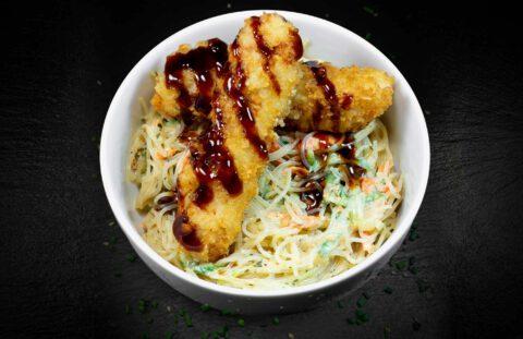 SUSHIdeluxe | Glasnudelsalat mit Teriyaki Chicken oder Lachs Tatar
