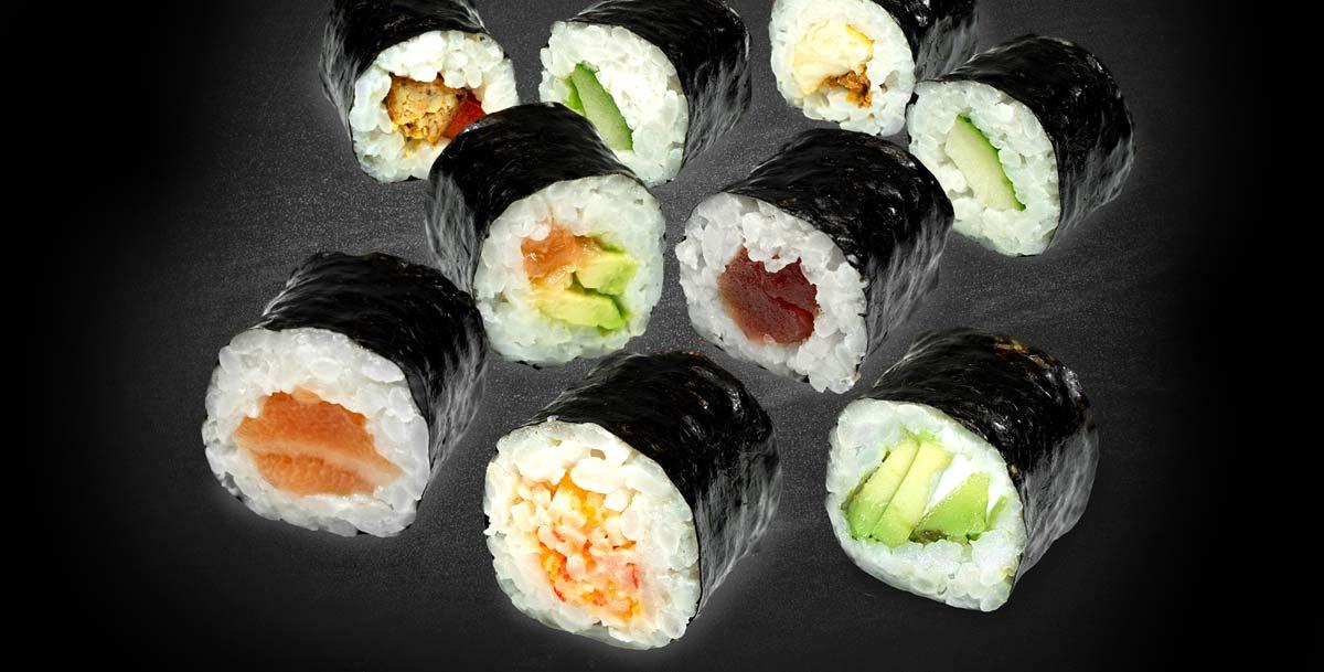 SUSHIdeluxe - Maki Lachs, Avocado- & Gurke-Cream, Tuna, Makrele, Surimi, Vegan
