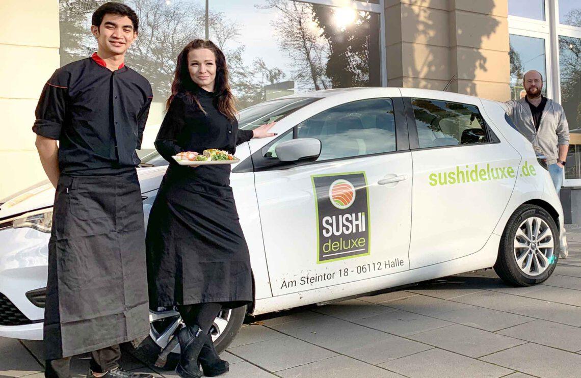 Unser SUSHIdeluxe Renault ZOE als vollelektrisches Lieferfahrzeug für Halle