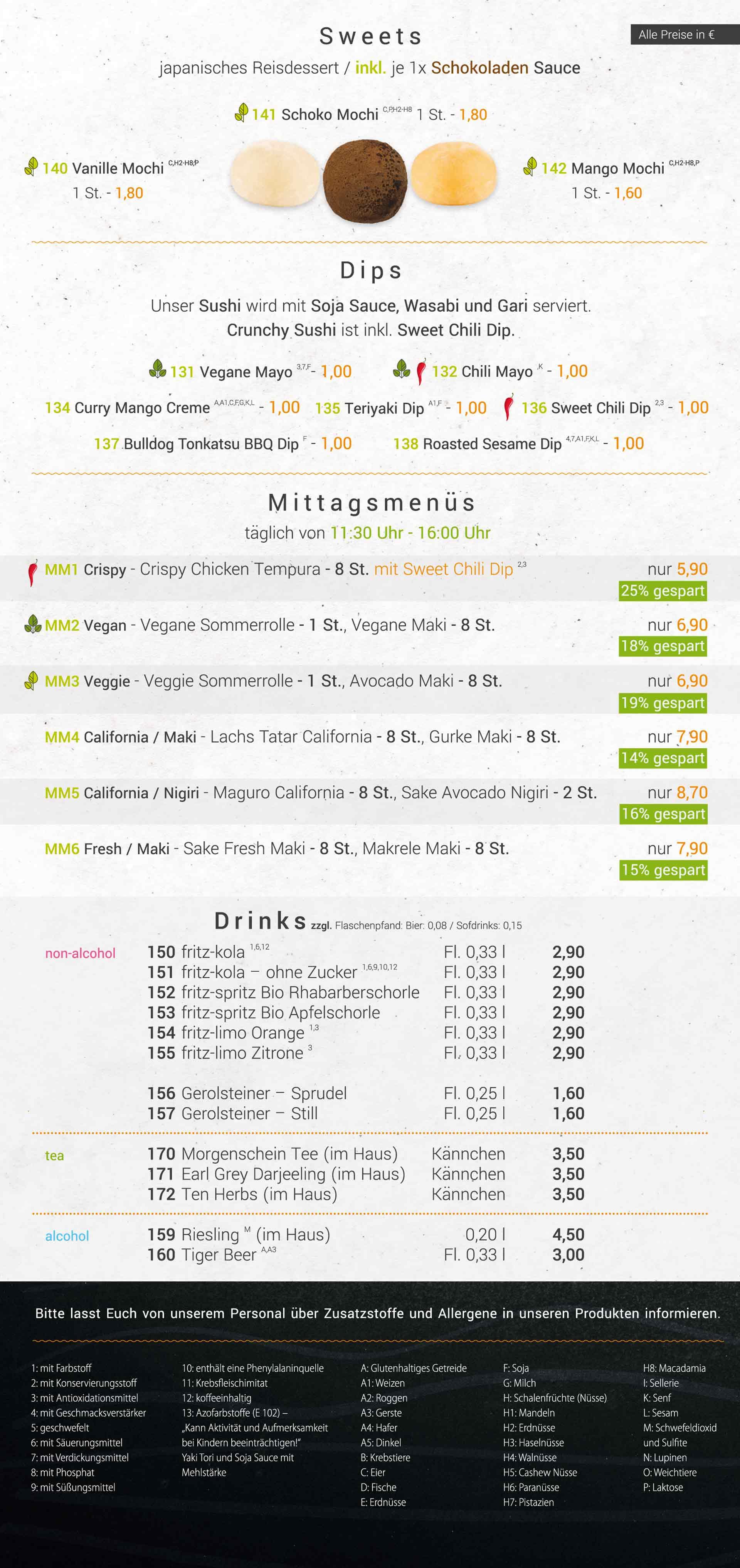 Speisekarte Sushideluxe Magdeburg Seite 5 | Sweets, Dips, Mittags Menues, Drinks